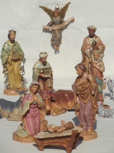Large Set Digiovanni Nativity Hand Painted Creche Figures