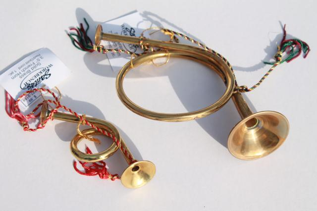 Large small solid brass french horns vintage holiday
