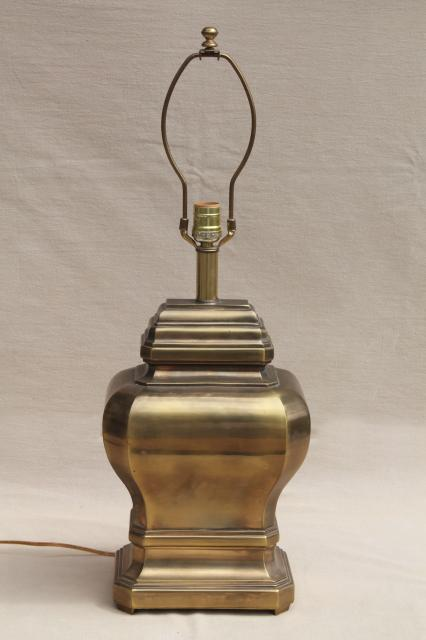 Large solid brass chinese urn table lamp w touch lamp light switch aloadofball Images