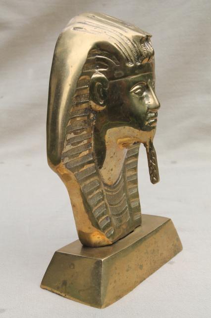 Large Solid Brass Bust Of King Tut Vintage Egyptian Art