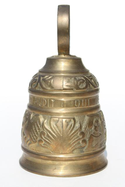 large solid brass door bell or garden chime, qui me tangit vocem meam audit