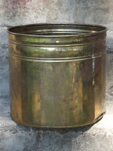 large solid brass planter pot, jardiniere for small tree, palm or tropical
