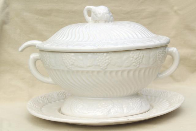 Large Soup Tureen Vintage California Pottery Ceramic Looks Like Antique White Ironstone