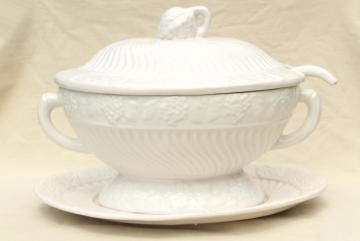 large soup tureen vintage California pottery ceramic, looks like antique white ironstone