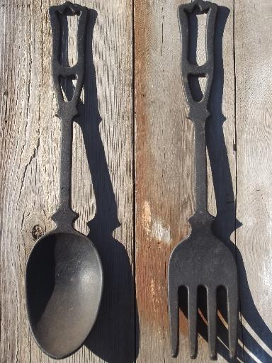large spoon & fork, vintage kitchen wall art, black cast iron utensils