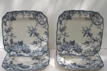 large square plates or chargers blue & white toile w/ birds, Adelaide 222 Fifth