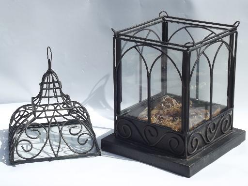 Large Tabletop Glass House, Wrought Iron Birdcage Terrarium Display Box
