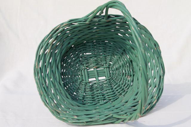 large vintage basket for garden flowers, nice old jadite green paint