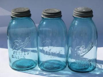 large vintage blue glass Ball fruit canning mason jars for storage