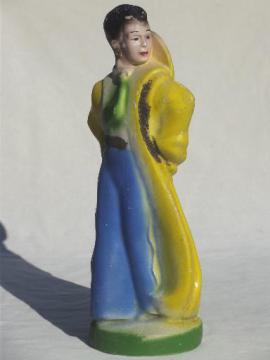 large vintage carnival chalkware figure, goucho lady in riding duster