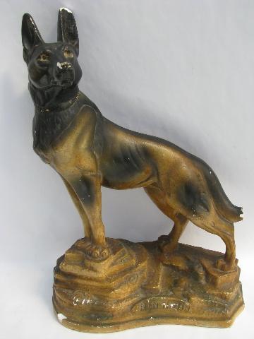 Large Vintage Chalk Ware Dog Statue Of German Shepard Rin