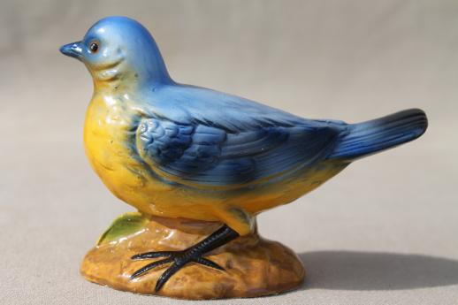 Large Vintage Chalkware Bluebird Figurine Cottage Style