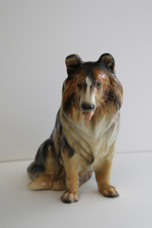 large vintage collie dog ceramic planter Made in Japan china 1950s Lassie