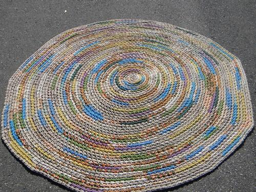 Large vintage crochet rag rug soft thick cotton knit t for Thick material t shirts