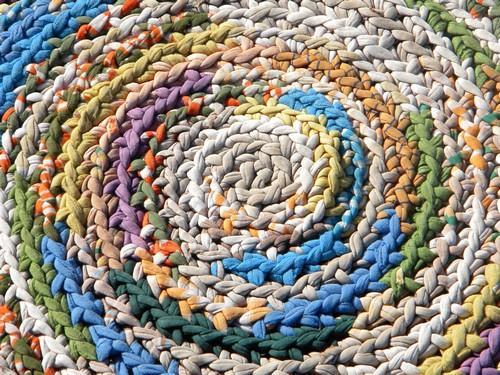 large vintage crochet rag rug, soft