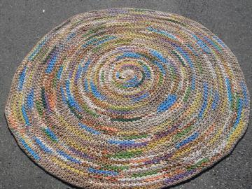large vintage crochet rag rug, soft thick cotton knit t-shirt fabric