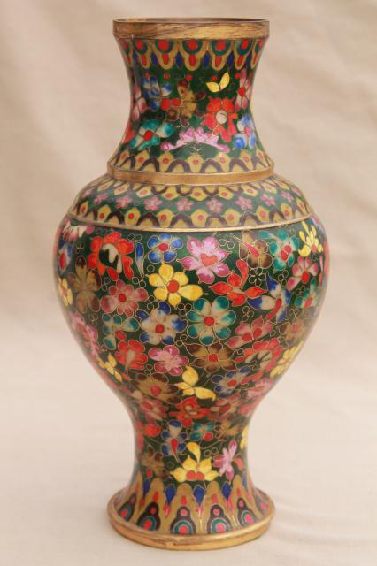 Large Vintage Enameled Brass Vase Chinese Cloisonne Or Champleve