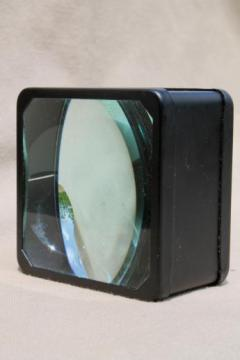 large vintage magnifying glass for workbench or desk,  convex magnifying lenses in steel frame