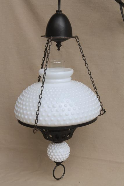 Wall Brackets For Hanging Lamps : large vintage milk glass shade hanging lamp, antique oil lamp reproduction w/ wall bracket