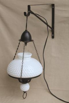 large vintage milk glass shade hanging lamp, antique oil lamp reproduction w/ wall bracket