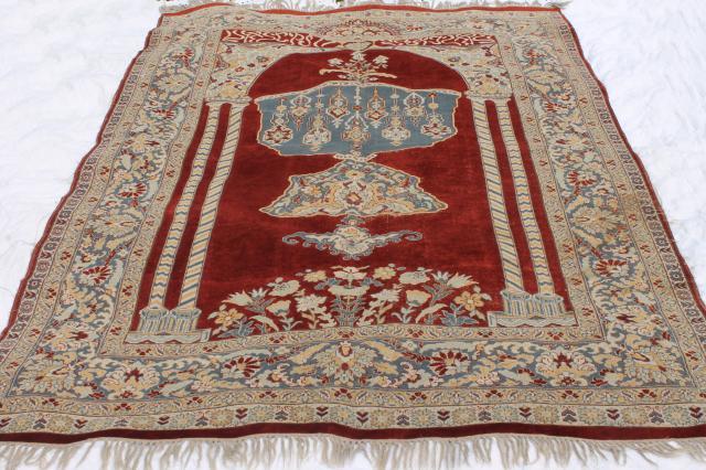 Large Vintage Oriental Rug, Fringed Prayer Rug Pattern Woven Wool Turkish  Or Persian Carpet