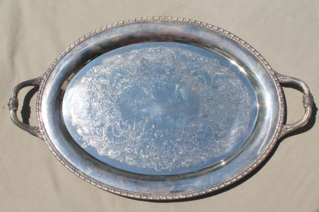 large vintage silver plate tray oval shape serving tray or hall table tray w/ handles & large vintage silver plate tray oval shape serving tray or hall ...