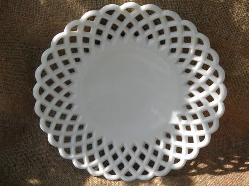 Large Vintage White Milk Glass Serving Plate Open Lace