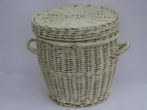 large vintage white painted wicker hamper, old sewing / mending basket