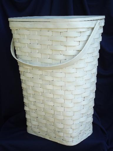 large vintage white painted wood splint wash hamper, old laundry basket