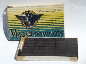 large vintage wood domino tiles, old dominoes set, lot game pieces for parts