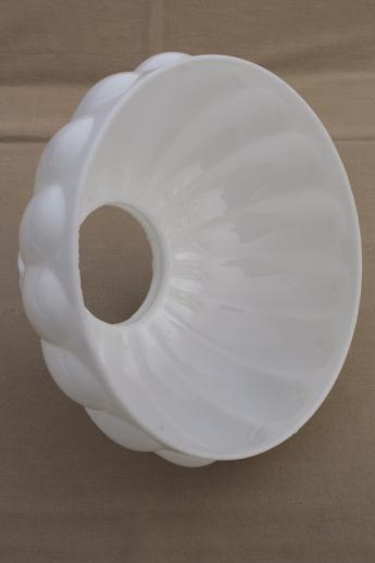 White Milk Glass Lamp Shade: large white milk glass lamp shade for student lamp, melon ribbed glass  lampshade,Lighting