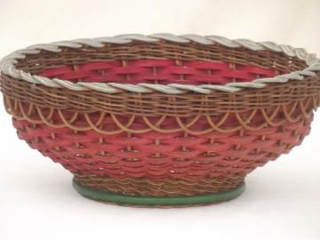 large wicker basket bowl w/ old paint & flowers, 1930s or 40s vintage
