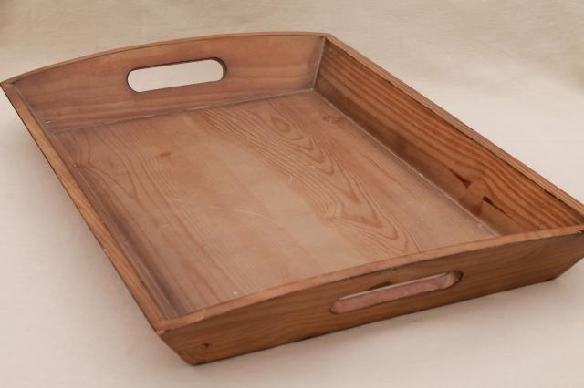 Large Wood Serving Tray W Sturdy Handles Vintage Country