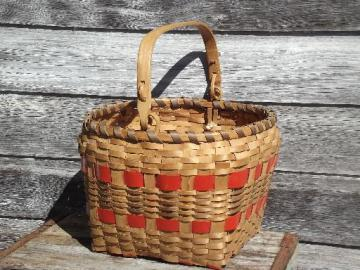 large wood splint gathering harvest produce basket w/ wooden handle