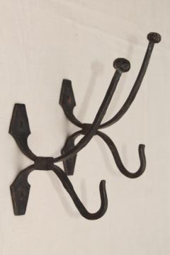 large wrought iron coat hooks, wall mount hook lot, vintage hardware