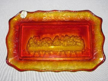 last supper amberina glass tray, tiara label