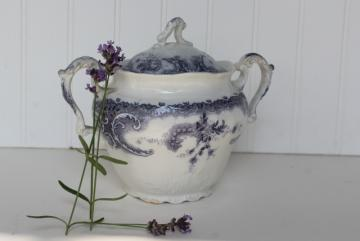 lavender purple antique English transferware china biscuit jar or sugar bowl