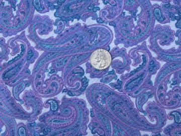 lavender purple & ocean blue paisley print, 60s vintage cotton fabric
