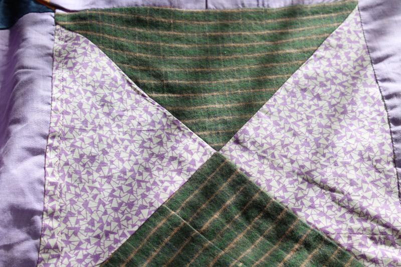 lavender vintage patchwork quilt top, cotton & flannel shirtings, rayon dress fabric