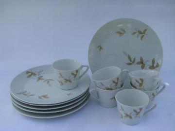 leaf pattern vintage Yamaka - Japan china snack sets, grey/brown leaves