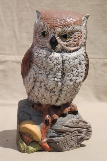 life size ceramic owl  70s vintage screech owl figurine