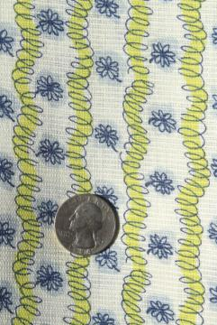 light airy summer weight cotton vintage feed sack fabric, scribble & daisies print