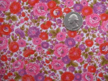 light cotton poplin fabric, 60s vintage sewing material, bright floral
