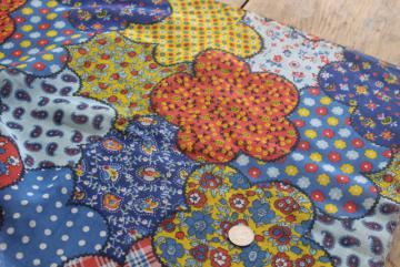 light floaty all cotton fabric summer festival sewing, 70s vintage hippie patchwork print