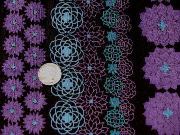 lightweight cotton fabric, retro vintage purple flower print on black