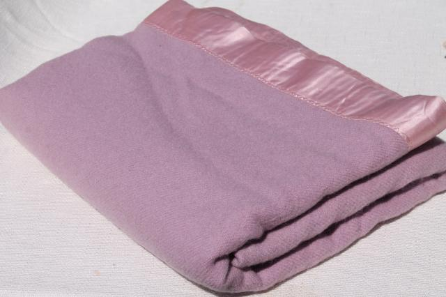 lilac lavender purple wool blanket, 1950s vintage warm wooly bed blanket