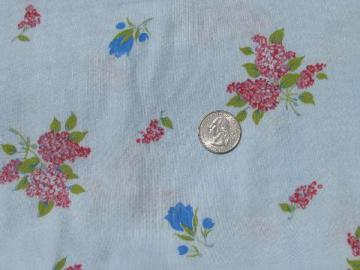 lilacs & flowers, floral on sky blue, vintage print cotton flannel fabric