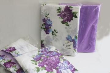 lilacs print cotton pillow shams and curtain panels w/ lavender sheers, vintage granny chic