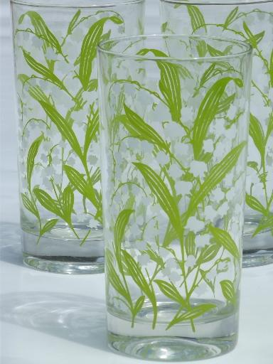 Lily Of The Valley Pattern Drinking Glasses Vintage