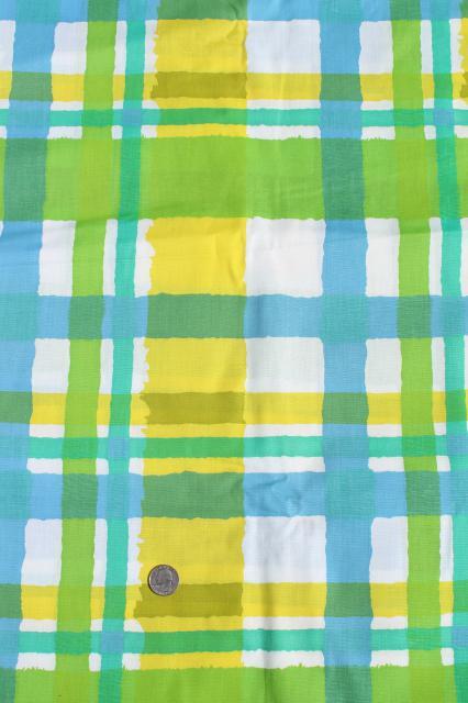 lime green, aqua blue, yellow plaid print vintage cotton fabric